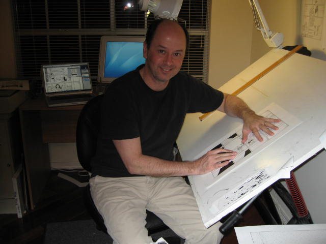 Terry Moore draws in his studio